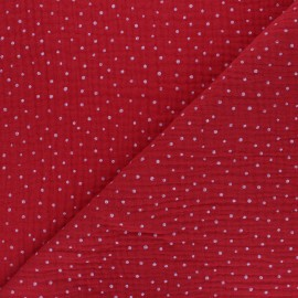 Tissu double gaze de coton Poppy Little Dots - Rouge x 10cm