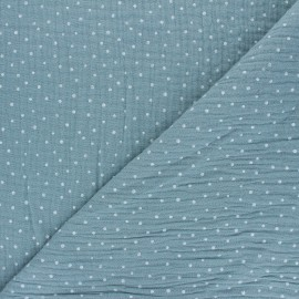 Poppy Double gauze fabric - sarcelle celadon Little Dots x 10cm