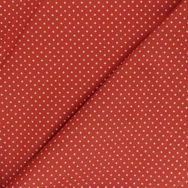 Poppy cotton Fabric - red brick Mini pois x 10cm