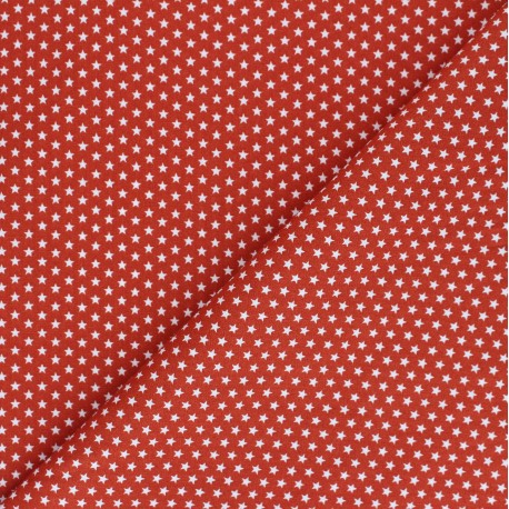 Poppy cotton Fabric - red brick Little star x 10cm