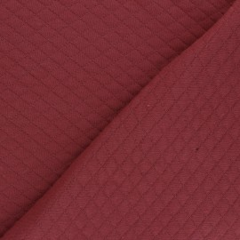 Quilted jersey fabric Diamonds 10/20 - Red brick x 10cm