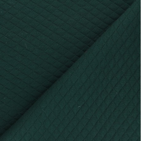 Quilted jersey fabric Diamonds 10/20 - Green x 10cm