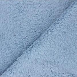 Tissu fourrure mouton coton - bleu layette x 10cm