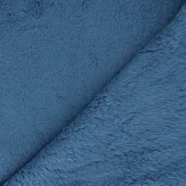 Tissu fourrure mouton coton - bleu x 10cm