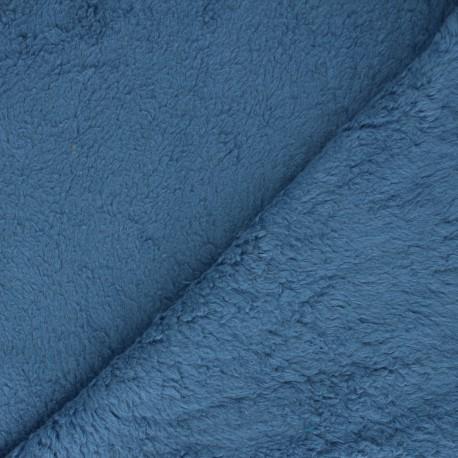 Cotton sheep fur fabric - blue x 10cm