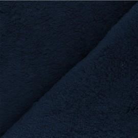 Tissu fourrure mouton coton - bleu marine x 10cm