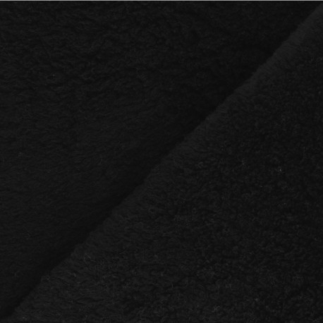 Cotton sheep fur fabric - black x 10cm