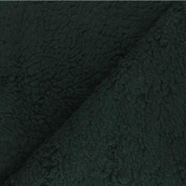 Tissu fourrure mouton coton - vert sapin x 10cm