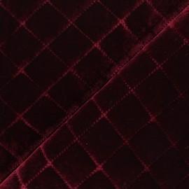 Quilted elastane velvet fabric - burgundy Opéra x 10cm