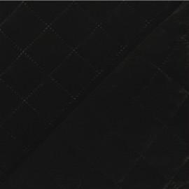 Quilted elastane velvet fabric - black Opéra x 10cm