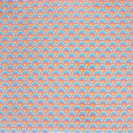 Tissu coton enduit Petit Pan Wasabi - blanc x 10cm