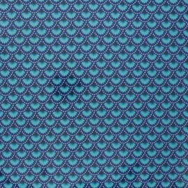 Petit Pan coated cotton fabric - blue Wasabi x 10cm