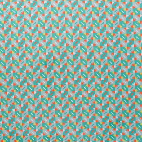 Petit Pan coated cotton fabric - green Sunset x 10cm
