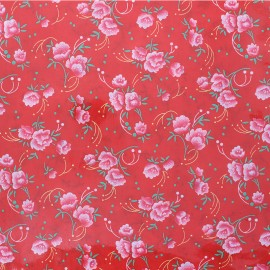 Tissu coton enduit Oeko-Tex Petit Pan Pivoine - rouge x 10cm