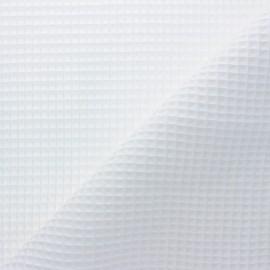 Waffle stitch cotton fabric - white Spa x 10cm