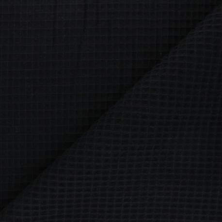 Waffle stitch cotton fabric - black Spa x 10cm
