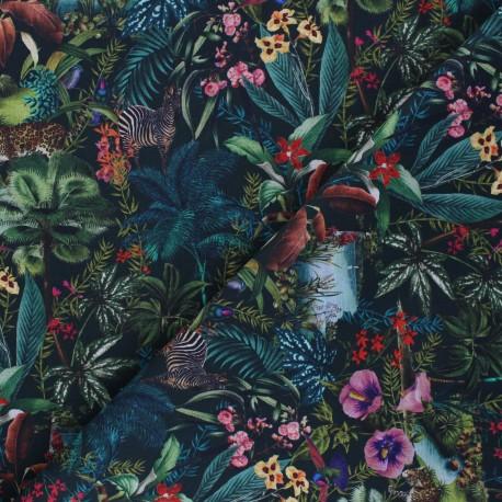 Patterned cotton fabric - green Venezuela x 10cm