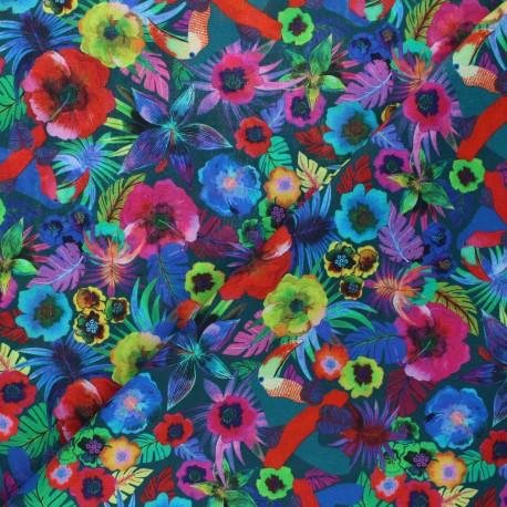 Patterned cotton fabric - green Cerrado x 10cm