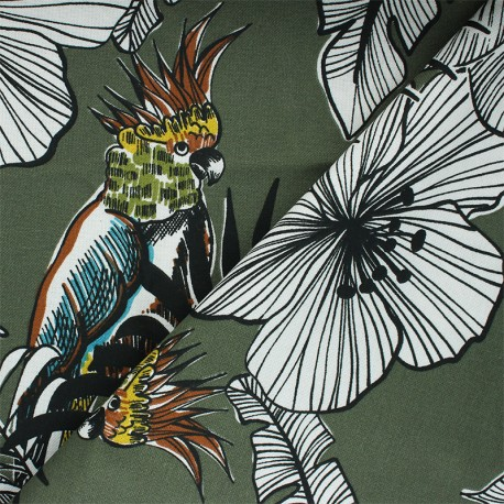 Tissu toile de coton Guatemala - vert kaki x 50 cm