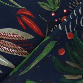 Tissu toile de coton Lanka - bleu marine x 50 cm