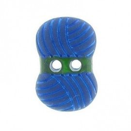Button, ball of wool - blue
