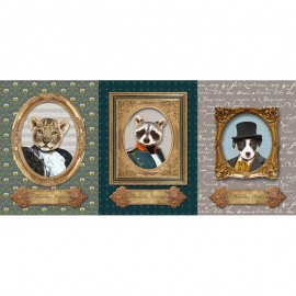 Panel Cotton Canvas fabric - Portrait animaux x 73cm