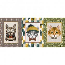 Tissu toile de coton panneau - Gatito x 71 cm