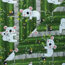 Tissu jersey Koala family - vert  x 10cm