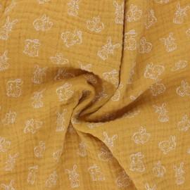 Poppy Double gauze fabric - mustard My Little Friends x 10cm
