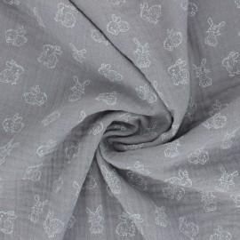 Poppy Double gauze fabric - grey My Little Friends x 10cm