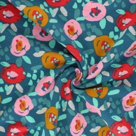 Tissu sweat léger Poppy Painted Flowers - lagon x 10cm