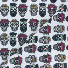 Tissu polyester pour masque Flower & skull - blanc x 10cm