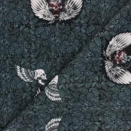 Polyester mask fabric - black Crâne ailés x 10cm