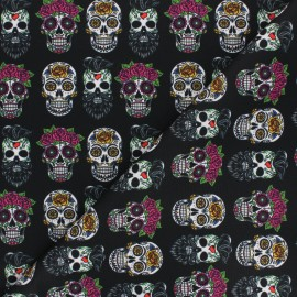 Polyester mask fabric - black Flower & skull x 10cm