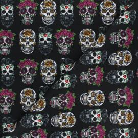Tissu polyester pour masque Flower & skull - noir x 10cm