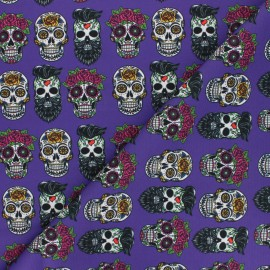 Tissu polyester pour masque Flower & skull - violet x 10cm
