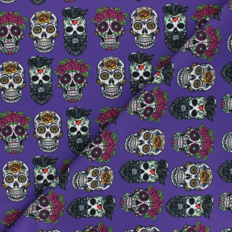 Polyester mask fabric - purple Flower & skull x 10cm