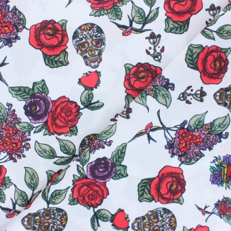 Polyester mask fabric - white Skulls and Roses x 10cm