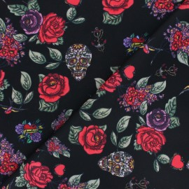 Polyester mask fabric - black Skulls and Roses x 10cm