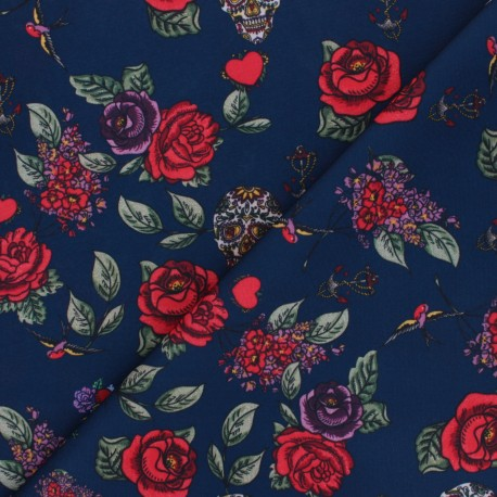 Polyester mask fabric - navy blue Skulls and Roses x 10cm
