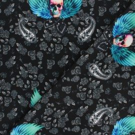 Tissu polyester pour masque Winged skull - noir x 10cm