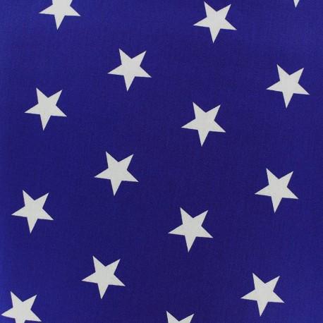 Tissu coton Etoiles - blanc/bleu navy x 10cm