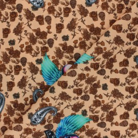 Polyester mask fabric - sand Winged skull x 10cm