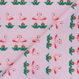 Polyester mask fabric - pink Flowery flamingo x 10cm