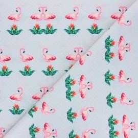 Polyester mask fabric - grey Flowery flamingo x 10cm