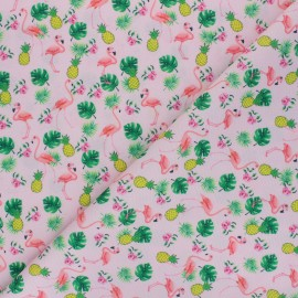 Tissu polyester pour masque Ananas and flamingo - rose x 10cm