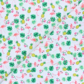 Polyester mask fabric - white Ananas and flamingo x 10cm