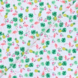 Tissu polyester pour masque Ananas and flamingo - blanc x 10cm