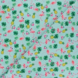 Polyester mask fabric - aqua green Ananas and flamingo x 10cm