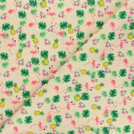 Tissu polyester pour masque Ananas and flamingo - sable x 10cm